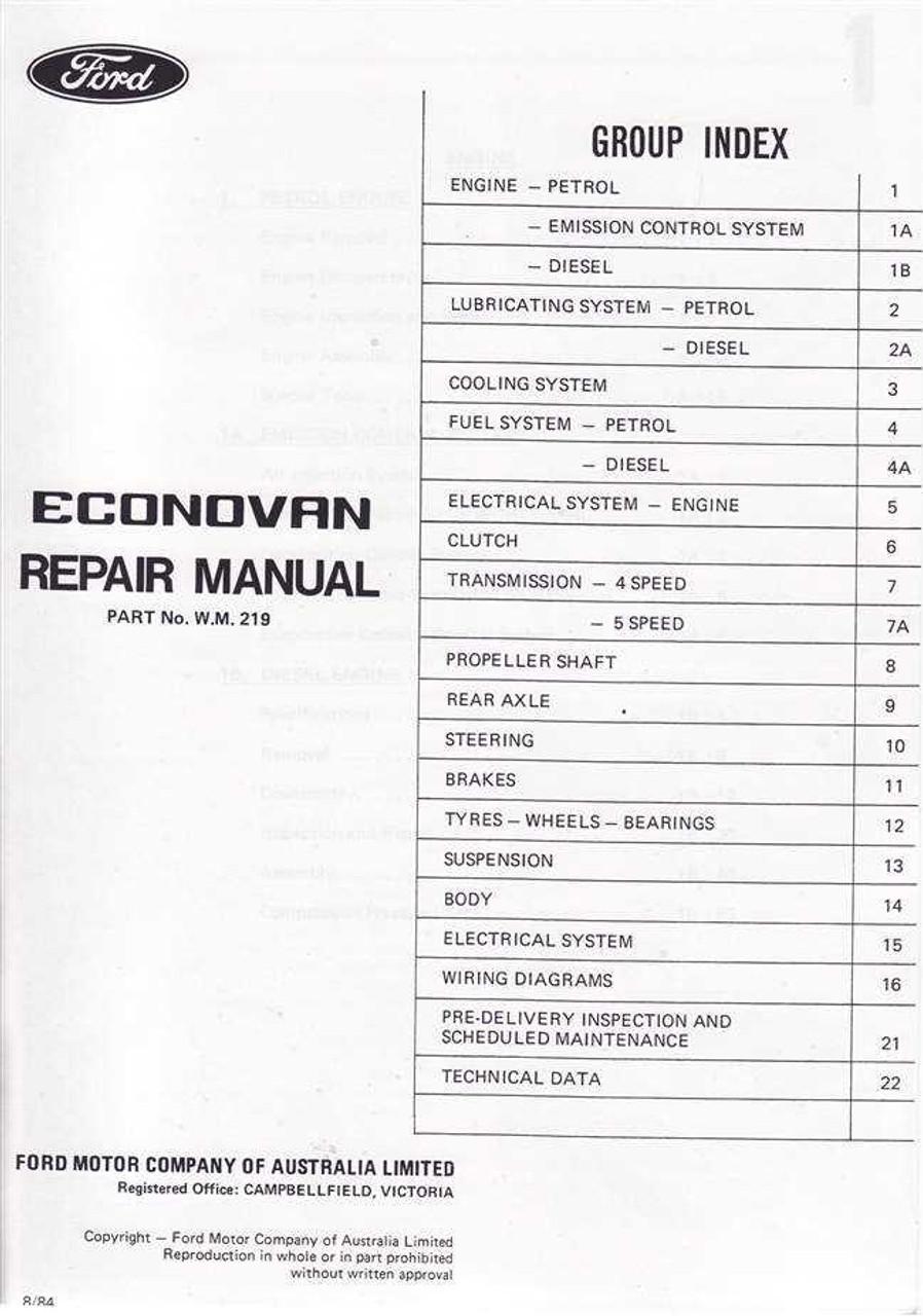 ford econovan 1979 1983 workshop manual rh automotobookshop com au free ford econovan repair manual 1994 ford econovan repair manual
