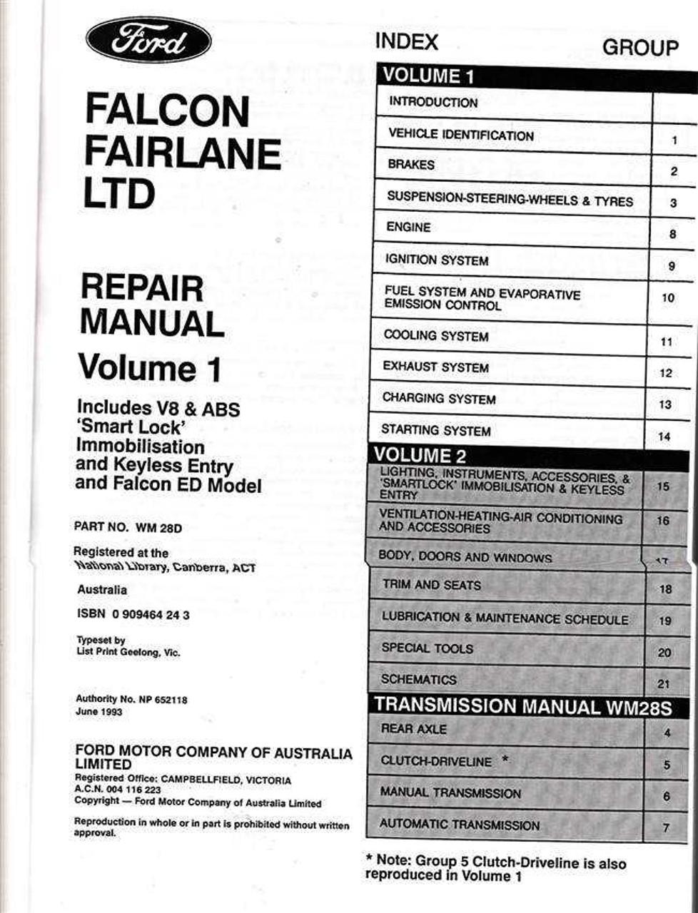 ford falcon and fairlane ltd workshop manual