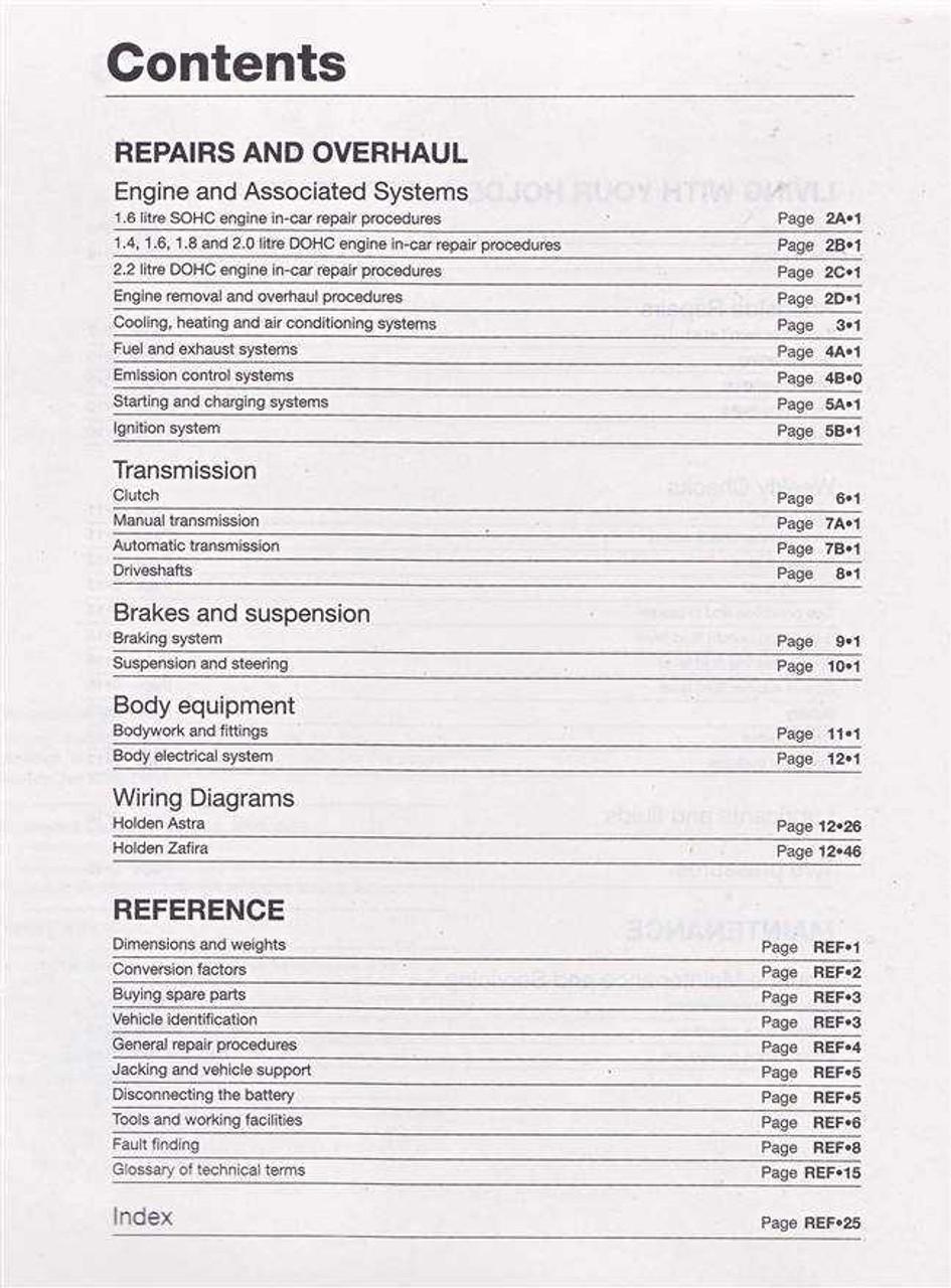 holden astra amp zafira ts tt series 1998 2005 workshop manual rh automotobookshop com au zafira workshop manual free opel zafira workshop manual pdf