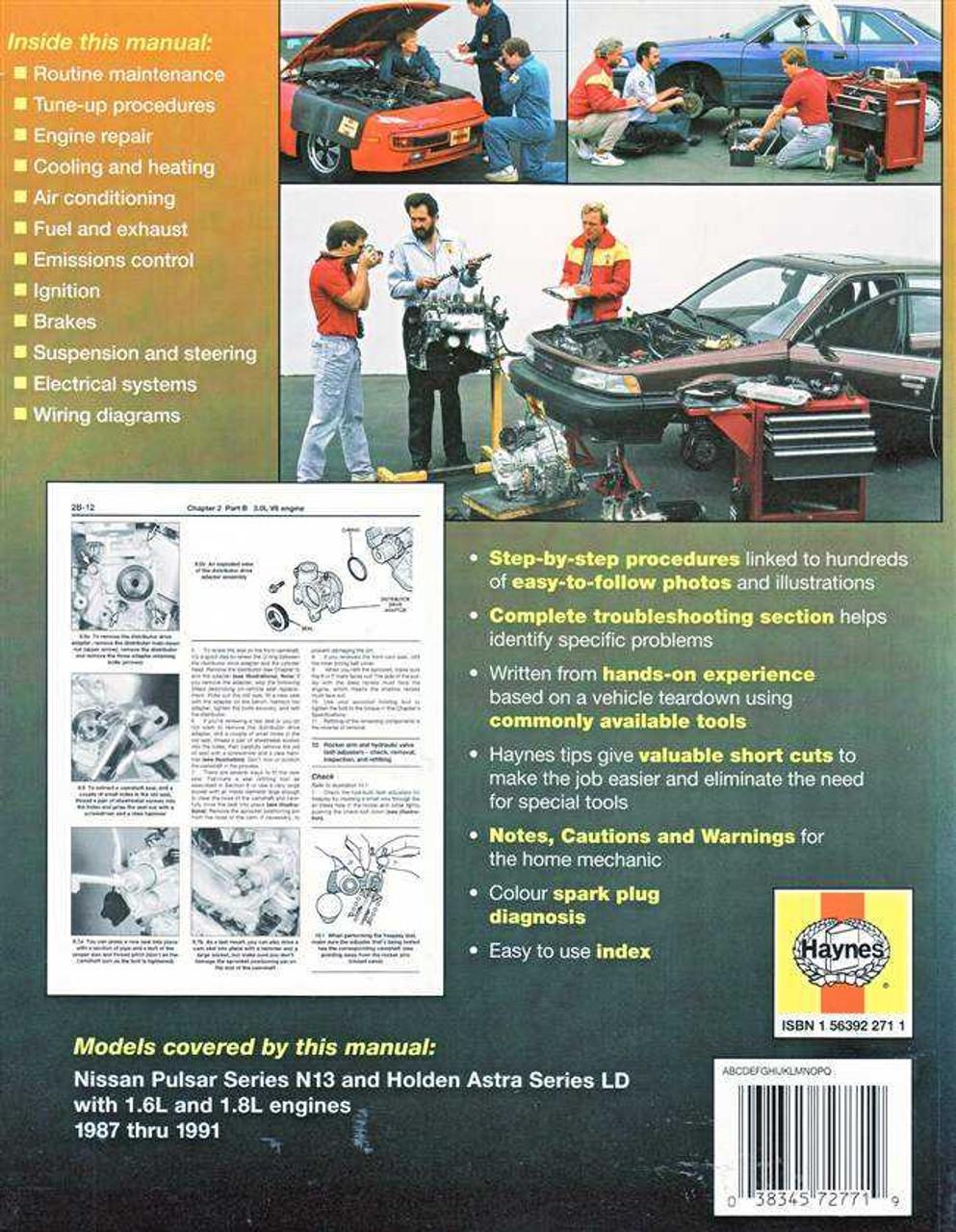 nissan pulsar amp holden astra 1987 1991 workshop manual rh automotobookshop com au 1988 Nissan Pulsar 1988 Nissan Pulsar