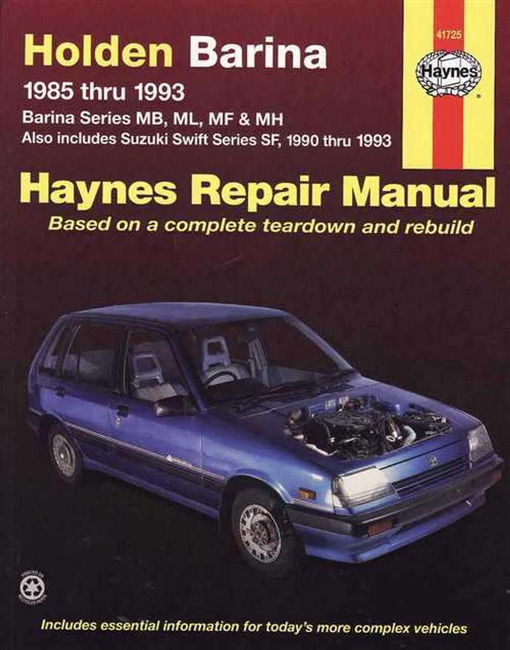 holden barina amp suzuki swift 1985 1993 workshop manual rh automotobookshop com au 2012 Holden Barina 2012 Holden Barina