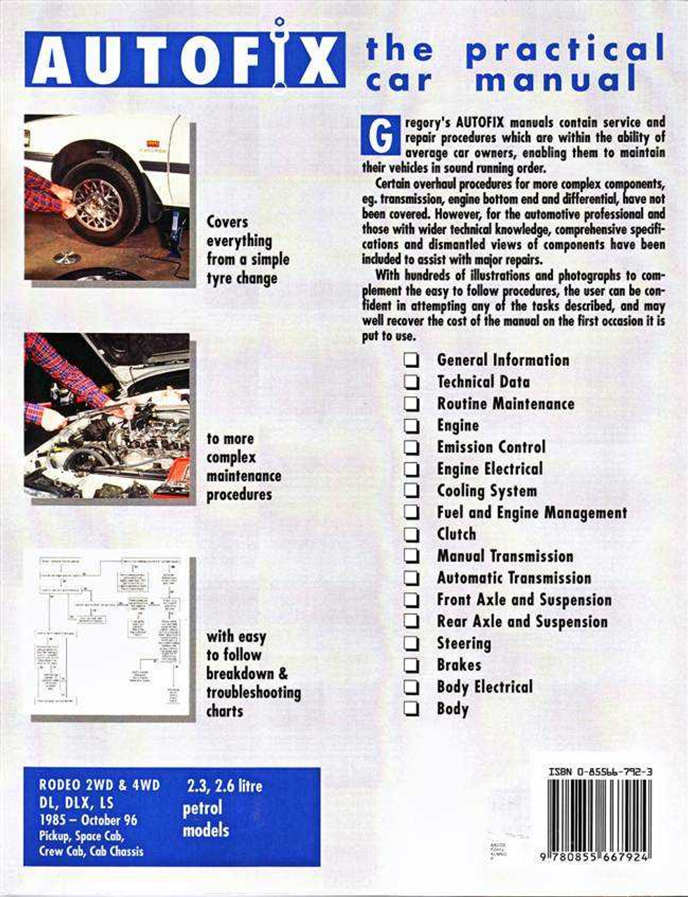 holden rodeo 2wd 4wd petrol 1985 1996 workshop manual rh automotobookshop com au vs Holden Colorado Rodeo 1997 Holden Rodeo