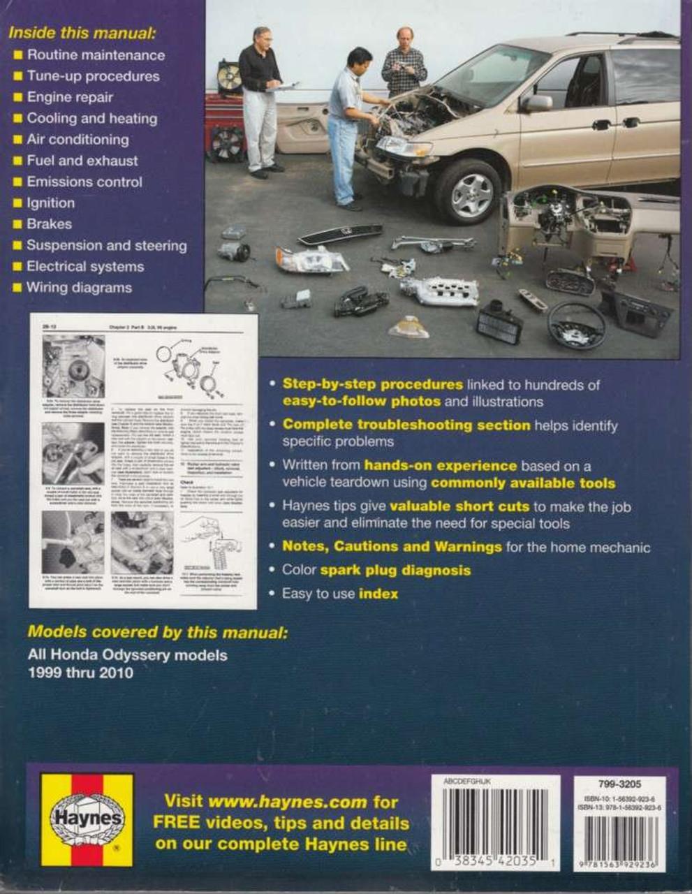 honda odyssey 1999 2010 workshop manual rh automotobookshop com au 2004 Honda Odyssey honda odyssey haynes repair manual download