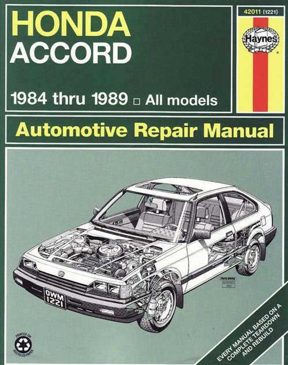 honda accord 1984 1989 workshop manual rh automotobookshop com au 1985 Accord 1989 honda accord service manual pdf