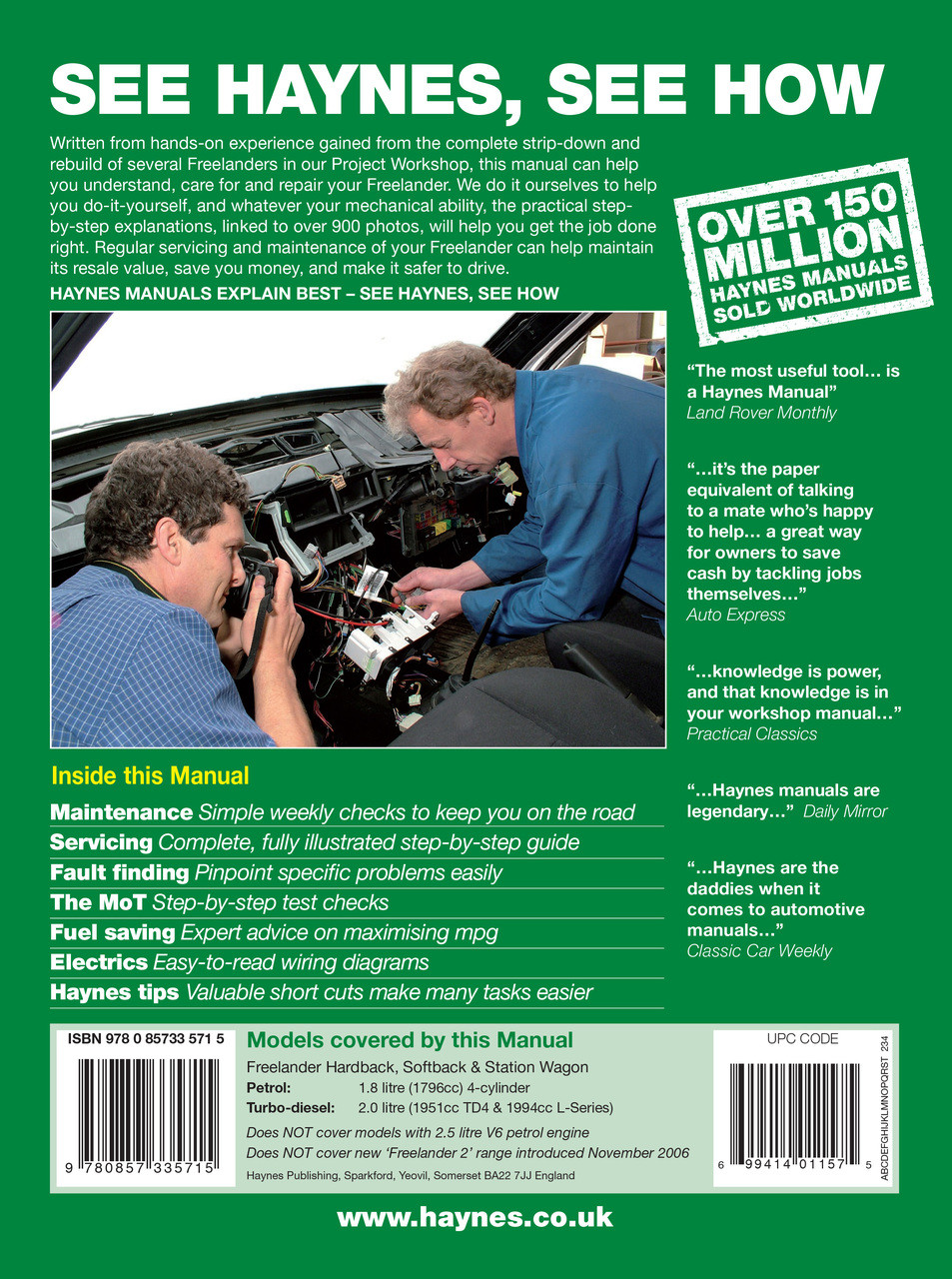 ... Land Rover Freelander Petrol & Diesel 1997 - 2006 Workshop Manual ...