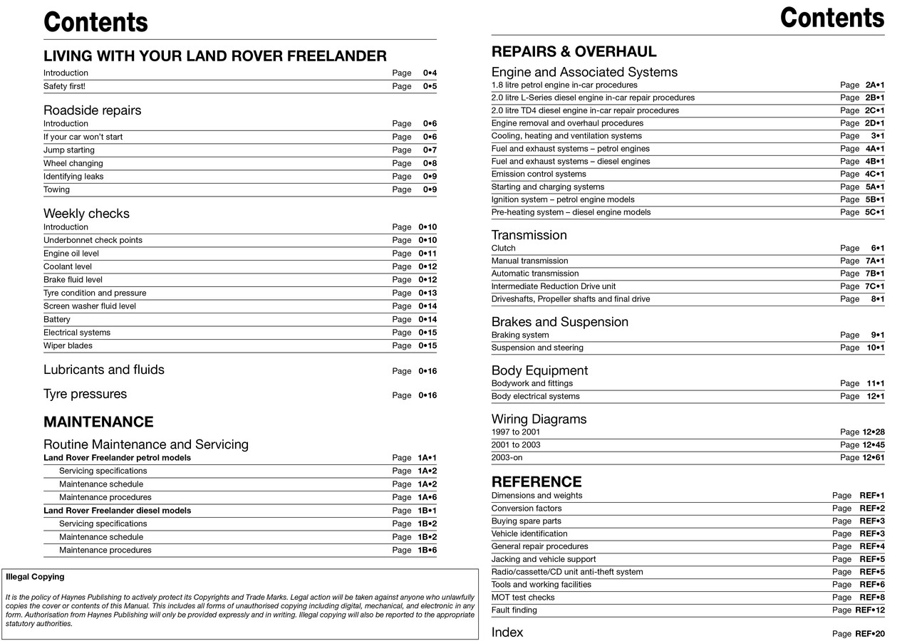 Land Rover Freelander 1997 2006 Workshop Manual 75 Wiring Diagram And Body Electric System Petrol Diesel