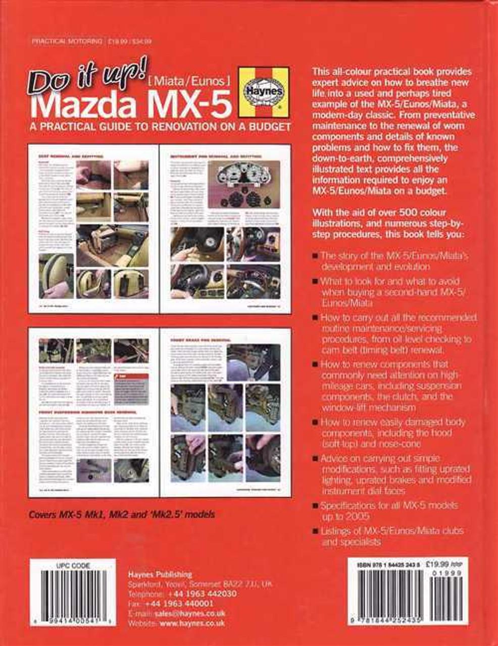 mazda mx 5 miata eunos 1989 2005 renovation manual rh automotobookshop com au Haynes Catalogue