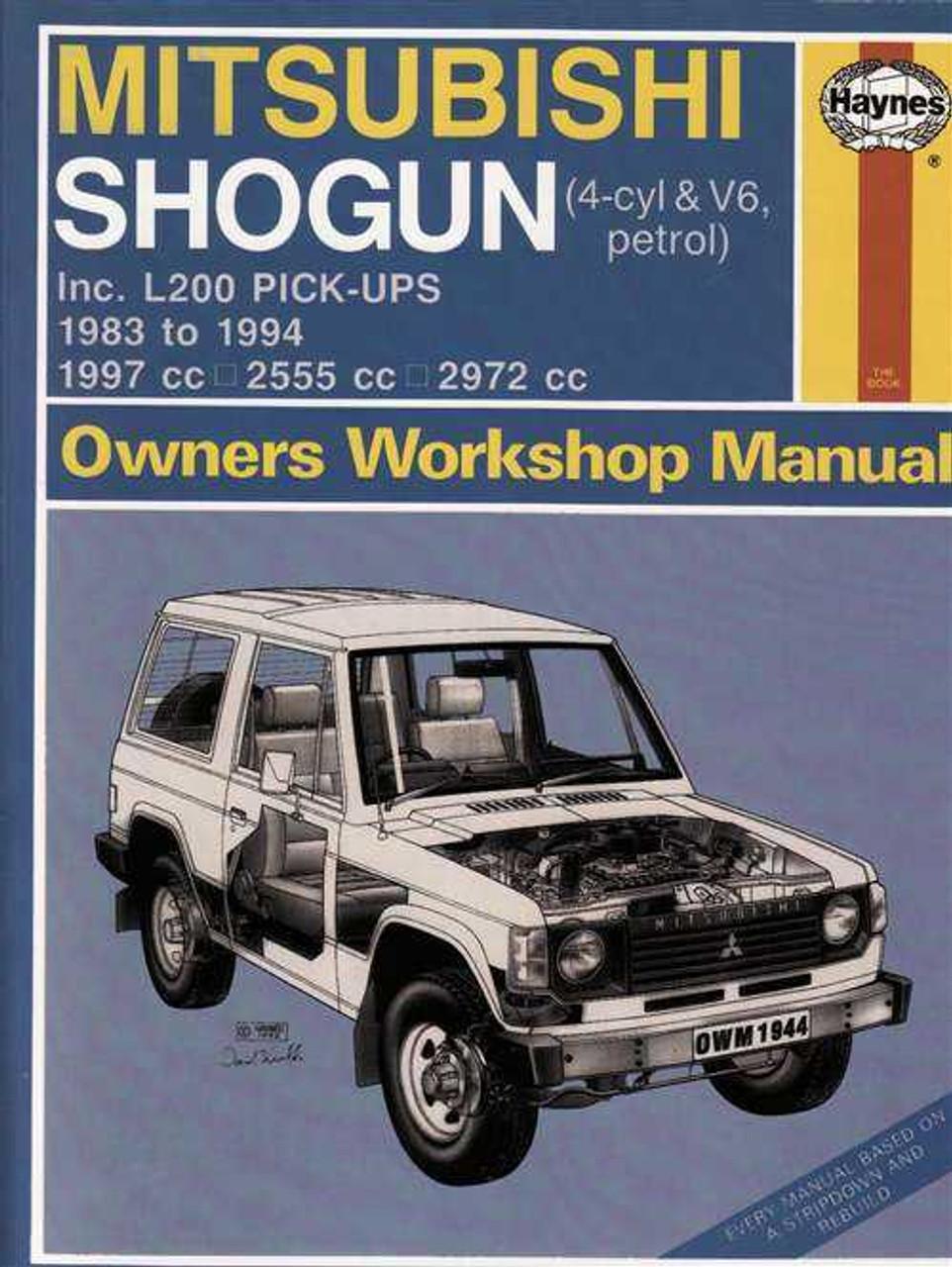 mitsubishi shogun incl l200 pick ups 1983 1997 workshop manual rh automotobookshop com au mitsubishi pajero pinin workshop manual mitsubishi pajero workshop manual pdf