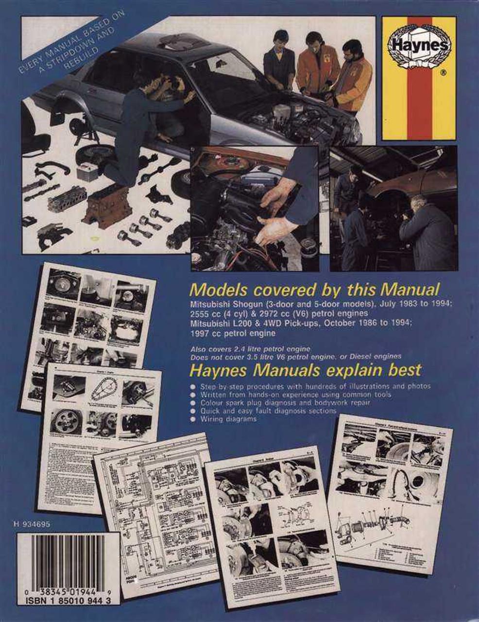 Haynes Workshop manual mitsubishi l200
