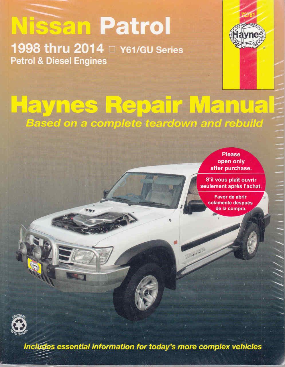 nissan patrol gu series petrol diesel 1998 2011 workshop manual rh automotobookshop com au Old Nissan Patrol Nissan Patrol G60