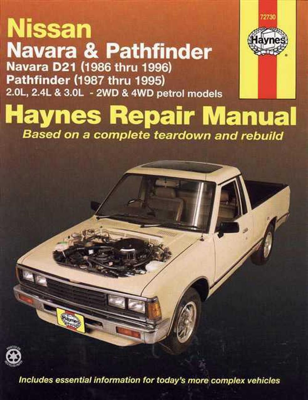 nissan navara amp pathfinder 1986 1996 workshop manual rh automotobookshop com au 2001 Nissan Frontier Repair Manual 86 Nissan Truck Repair Manual