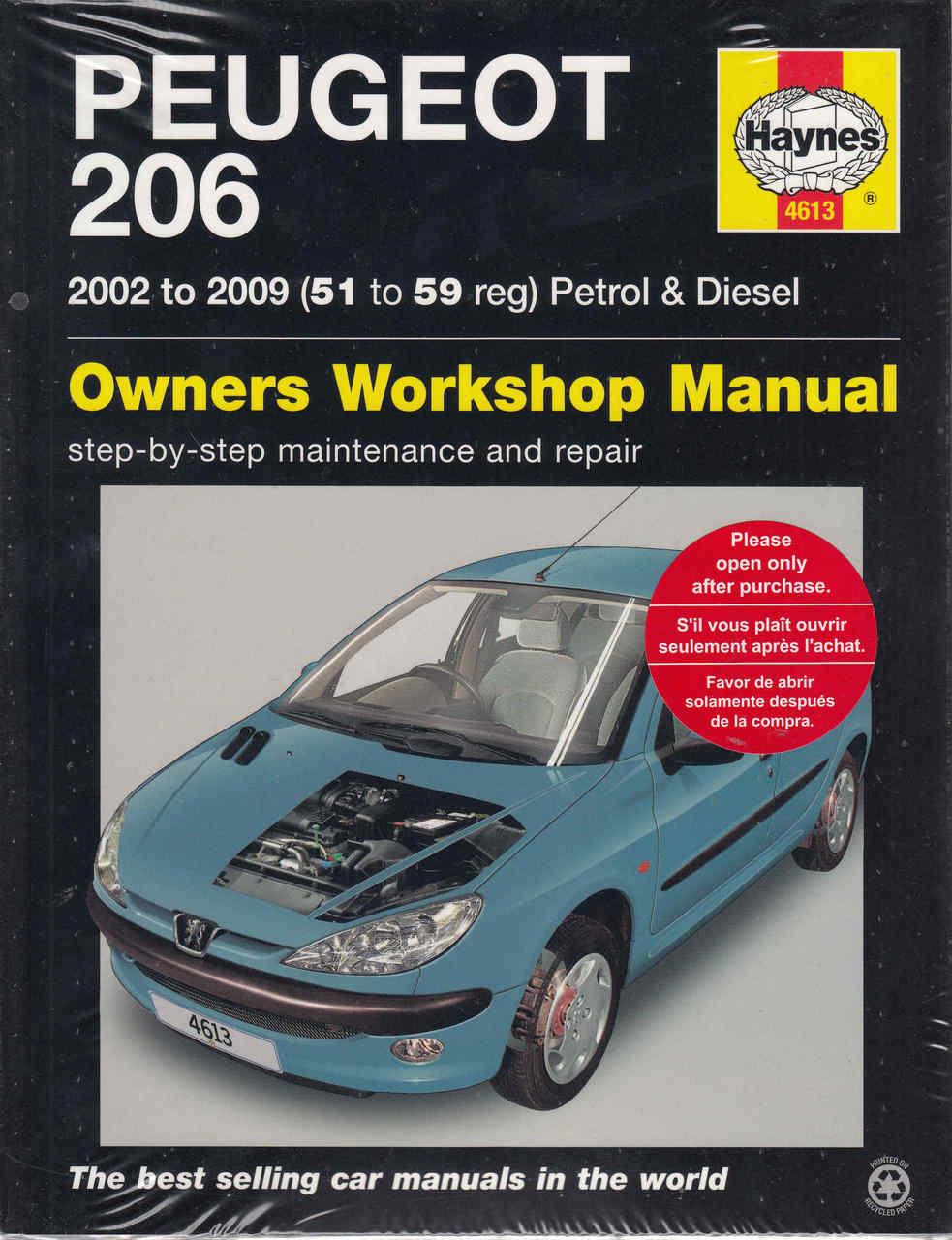 Peugeot 206 2002 - 2009 (Petrol & Diesel) Workshop Manual (9780857339089)  ...