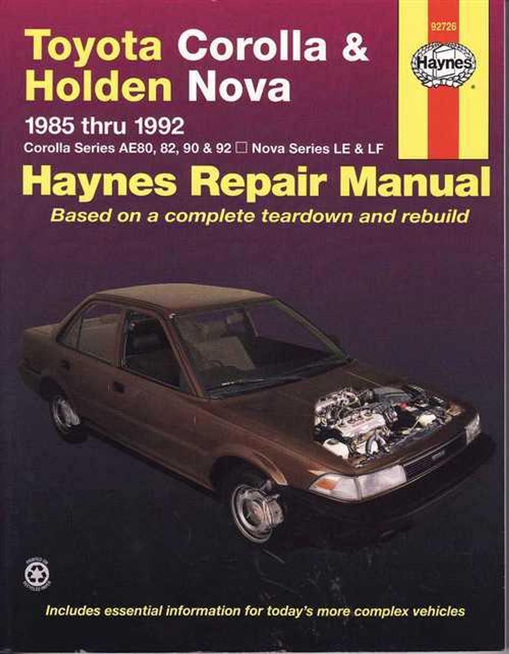toyota corolla ae80 82 90 92 and holden nova le lf workshop manual rh automotobookshop com au 1990 Toyota Corolla Specs 1990 Toyota Corolla Owners Manual