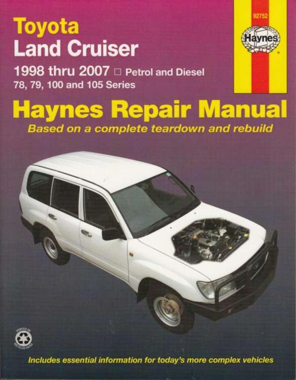 toyota land cruiser 78 79 100 105 petrol diesel 1998 2007 rh automotobookshop com au Land Cruiser 100 Series Built 100 series land cruiser repair manual