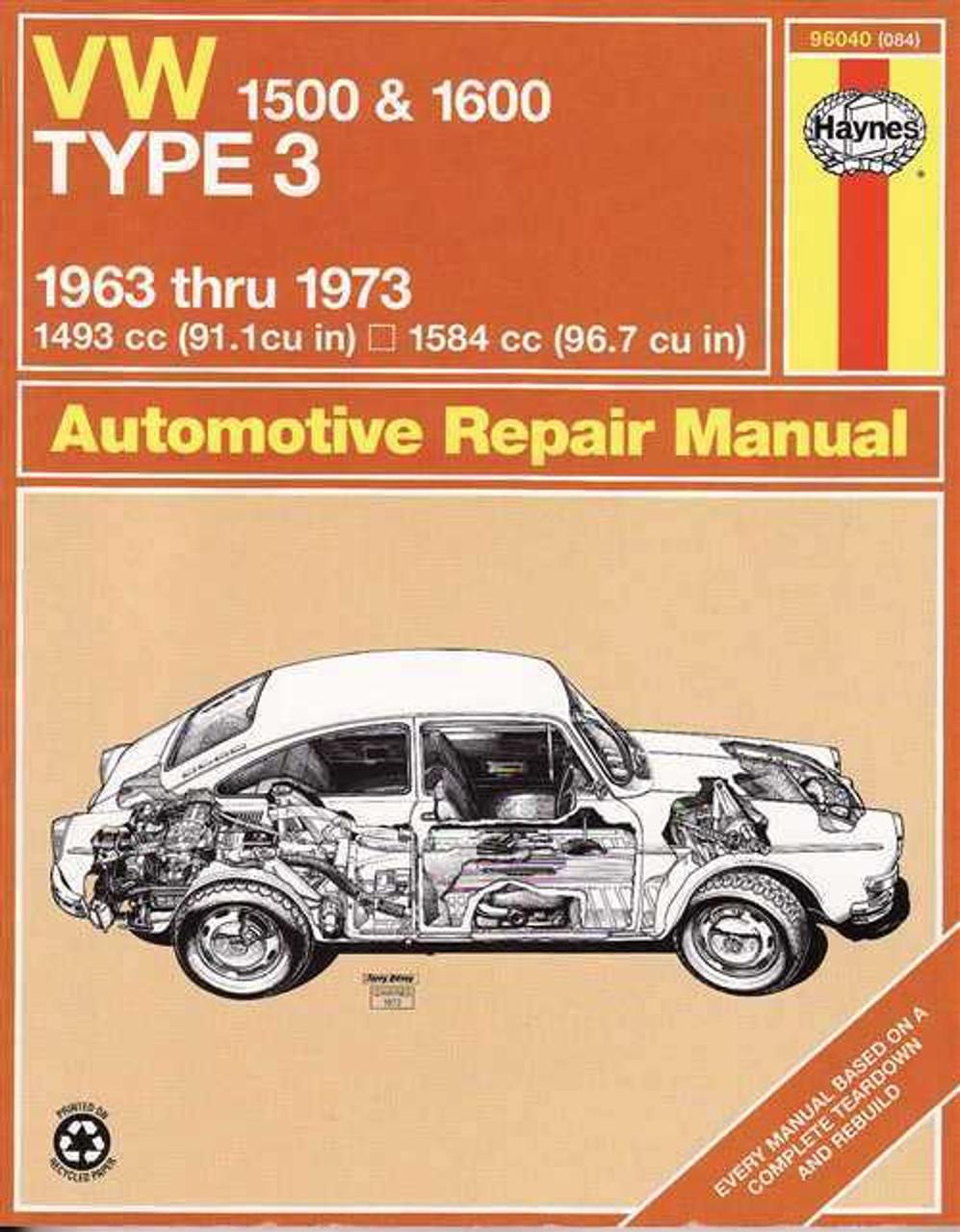 volkswagen 1500 amp 1600 type 3 1963 1973 workshop manual rh automotobookshop com au Bentley Service Manual VW VW Mechanic