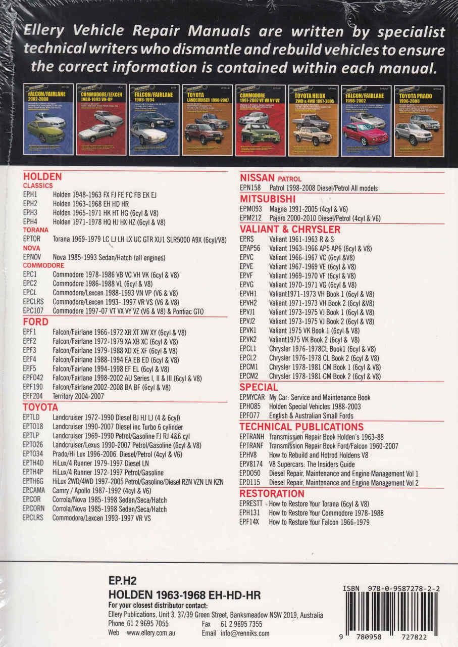 ... Holden EH, HD, HR Series 1963 - 1968 Workshop Manual - back ...