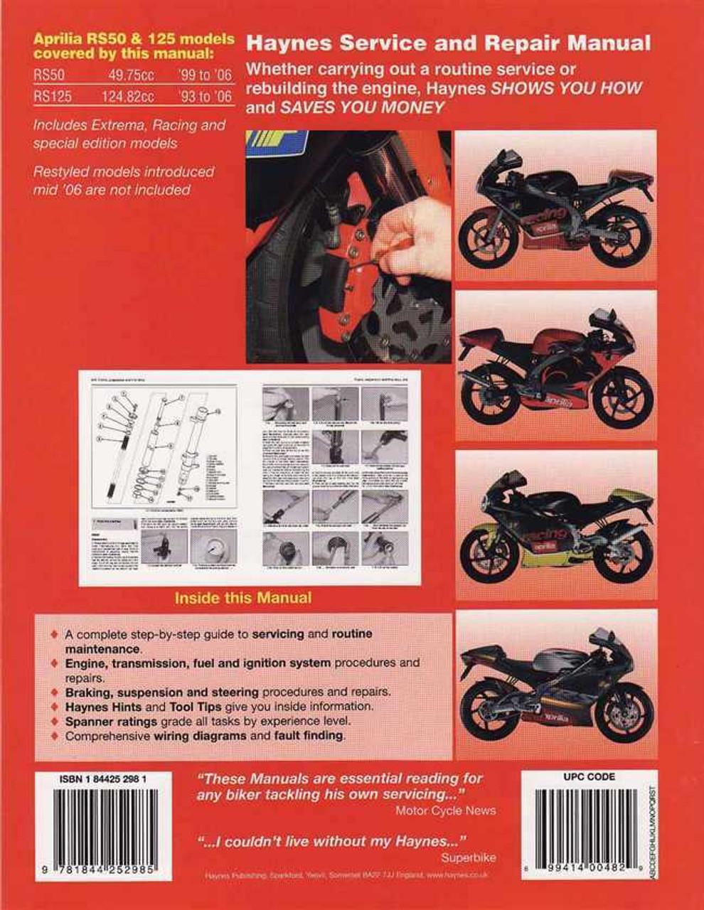 aprilia rs50 amp rs125 1993 2006 workshop manual rh automotobookshop com au aprilia rs 50 2009 manual aprilia rs 50 manual 2007