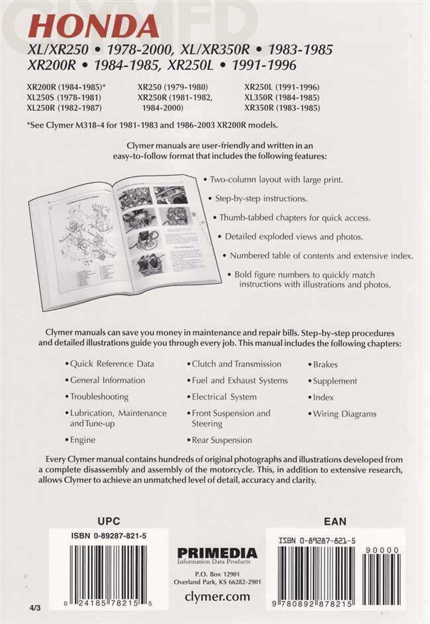 honda xl250 xr250 xl350r xr350r xr200r xr250l 1978 2000 workshop rh automotobookshop com au