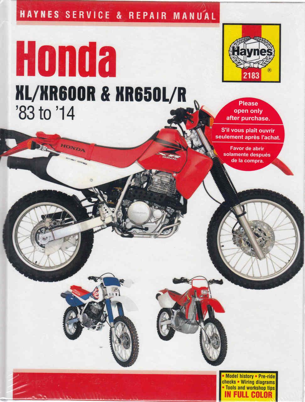 buy honda xl600r xr600r xr650l xr650r 1983 2008 workshop manual rh automotobookshop com au honda xr650r service manual honda xr600 service manual