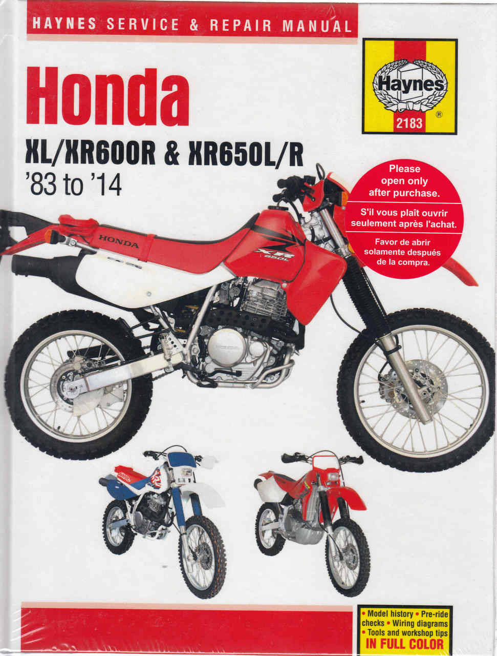 Honda XL600R, XR600R, XR650L, XR650R 1983 - 2014 Workshop Manual  (9781620920978) ...