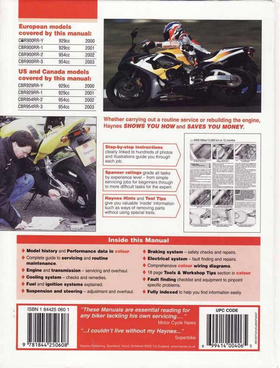 honda cbr900rr fireblade cbr929rr cbr954rr 2000 2003 workshop rh automotobookshop com au 2002 Honda CBR 954RR Specs Honda CBR 954 Double Bubble