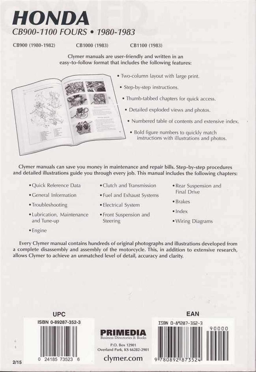 Honda CB900, CB1000 and CB1100 Fours 1980 - 1983 Workshop Manual