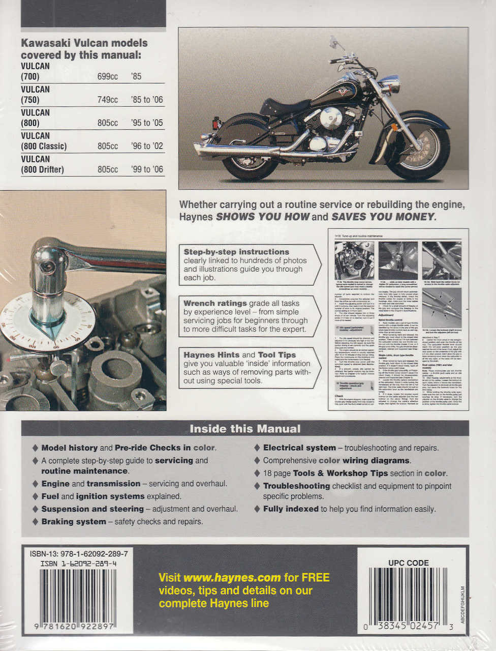 Kawasaki Vulcan 700 750 And 800 1985 2006 Workshop Manual Vn800 Wiring Schematics 9781620922897