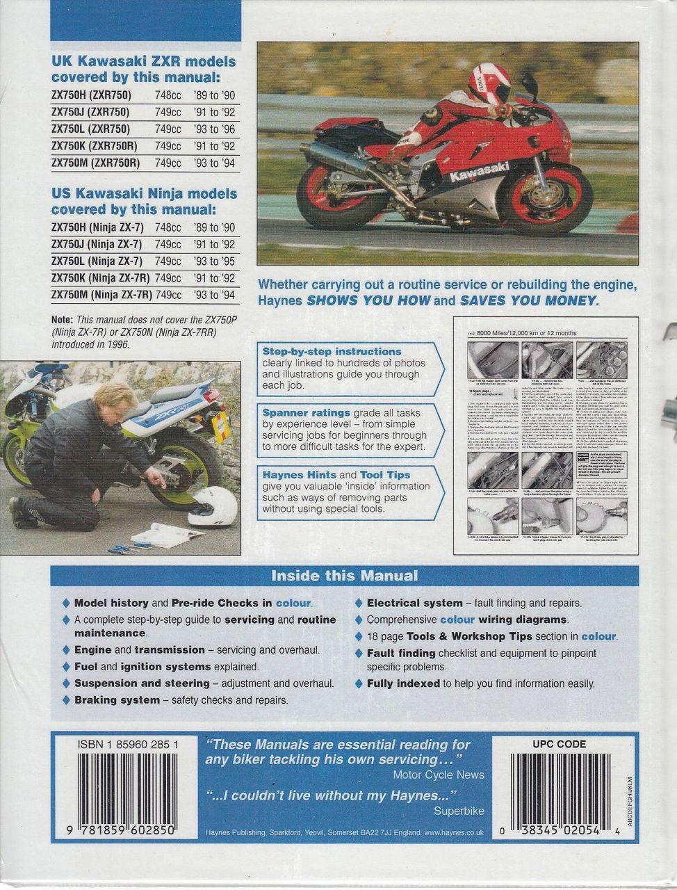 ... Kawasaki ZX750 (Ninja ZX-7 and ZXR750) Fours 1989 - 1996 Workshop Manual