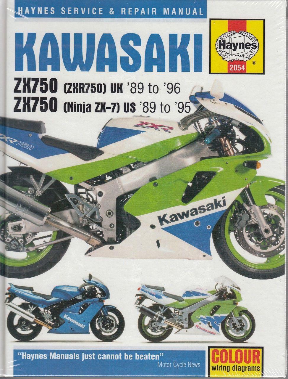 Kawasaki ZX750 (Ninja ZX-7 and ZXR750) Fours 1989 - 1996 Workshop Manual ...