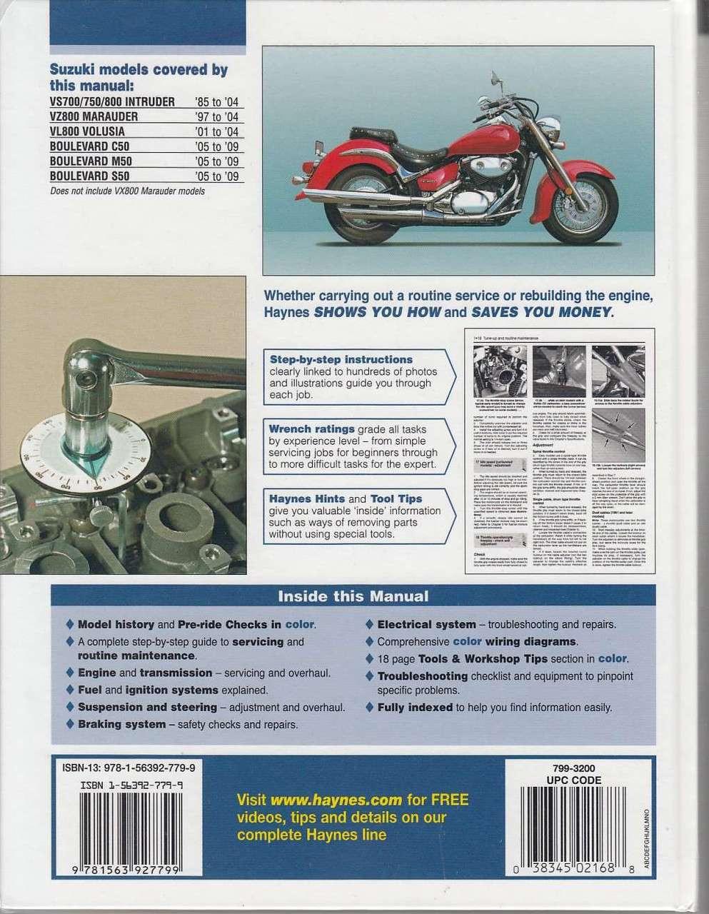 Suzuki Intruder Marauder Volusia And Boulevard 1985 2009 C50 Engine Diagram Workshop Manual Back