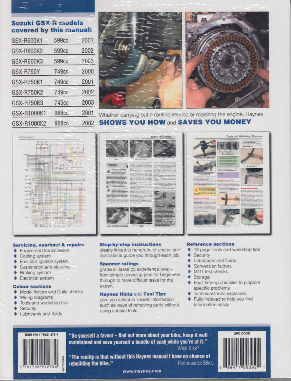 Suzuki Gsx R600 R1000 R750 2000 2003 Workshop Manual 2001 Gsxr 1000 Wiring Diagram
