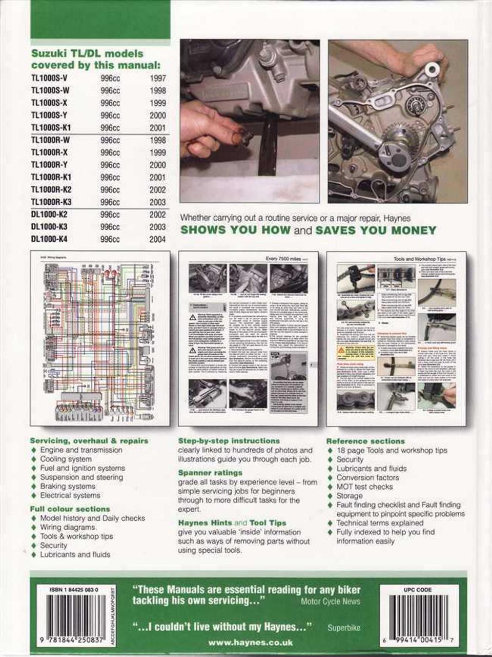 Workshop Manual Suzuki Tl1000s Tl1000r Dl1000 Vstrom 1997 2004: Wire Diagram Suzuki Tl1000r At Aslink.org