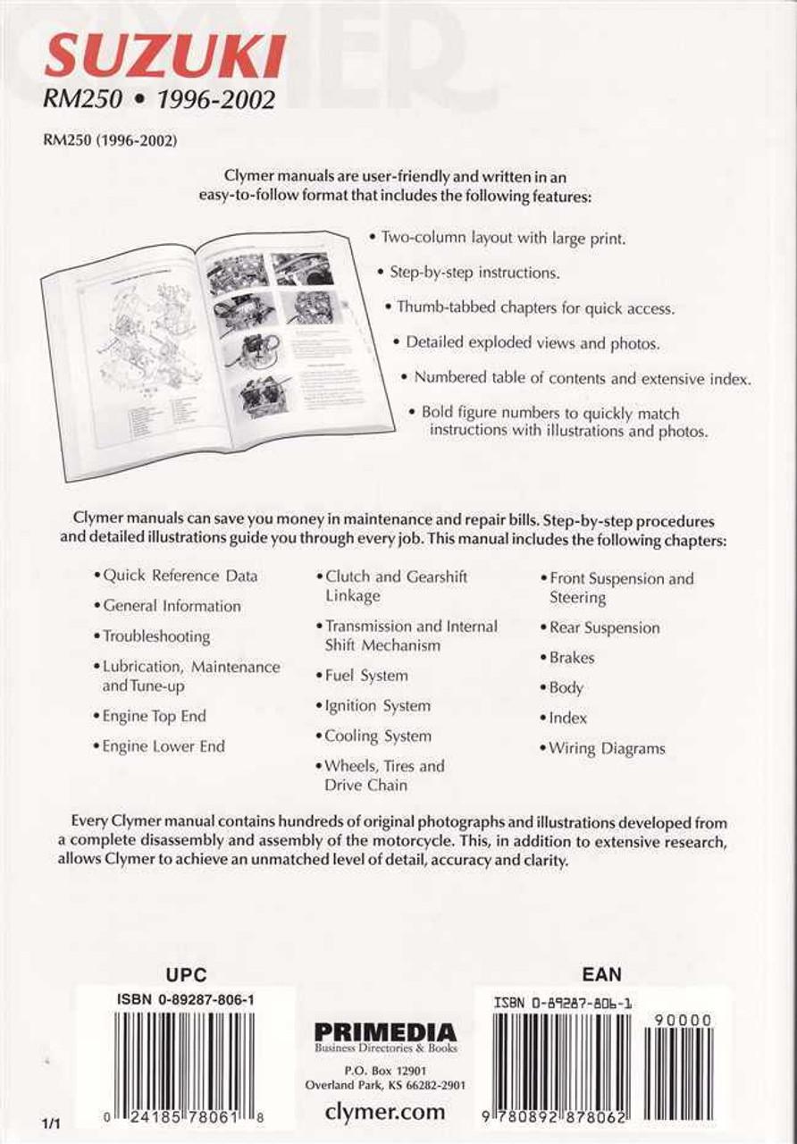 suzuki rm250 1996 2002 workshop manual rh automotobookshop com au suzuki rm 250 service manual suzuki rm250 service manual free download