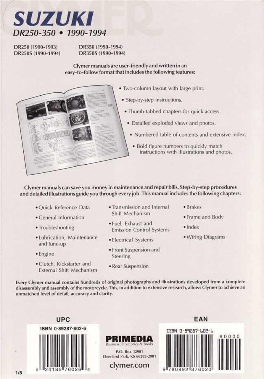 suzuki dr250, dr250s, dr350, dr350s 1990 1994 workshop manual 1995 dr250 dr250s wiring diagram #34