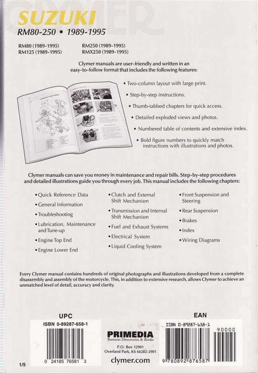 suzuki rm80 rm125 rm250 amp rmx250 1989 1995 workshop manual rh automotobookshop com au 1990 Suzuki RM 125 Manual 1991 Suzuki RM 125 Manual