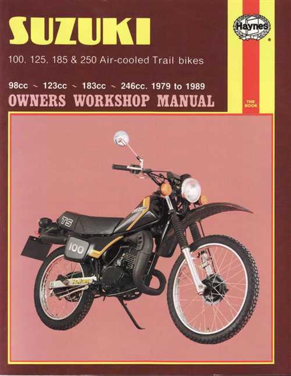 suzuki ts100 ts125 ts185 ts250 air cooled trail bikes 1979 1989 rh automotobookshop com au 1973 Suzuki 125 Enduro 1972 Suzuki Classic TS 185 Enduro