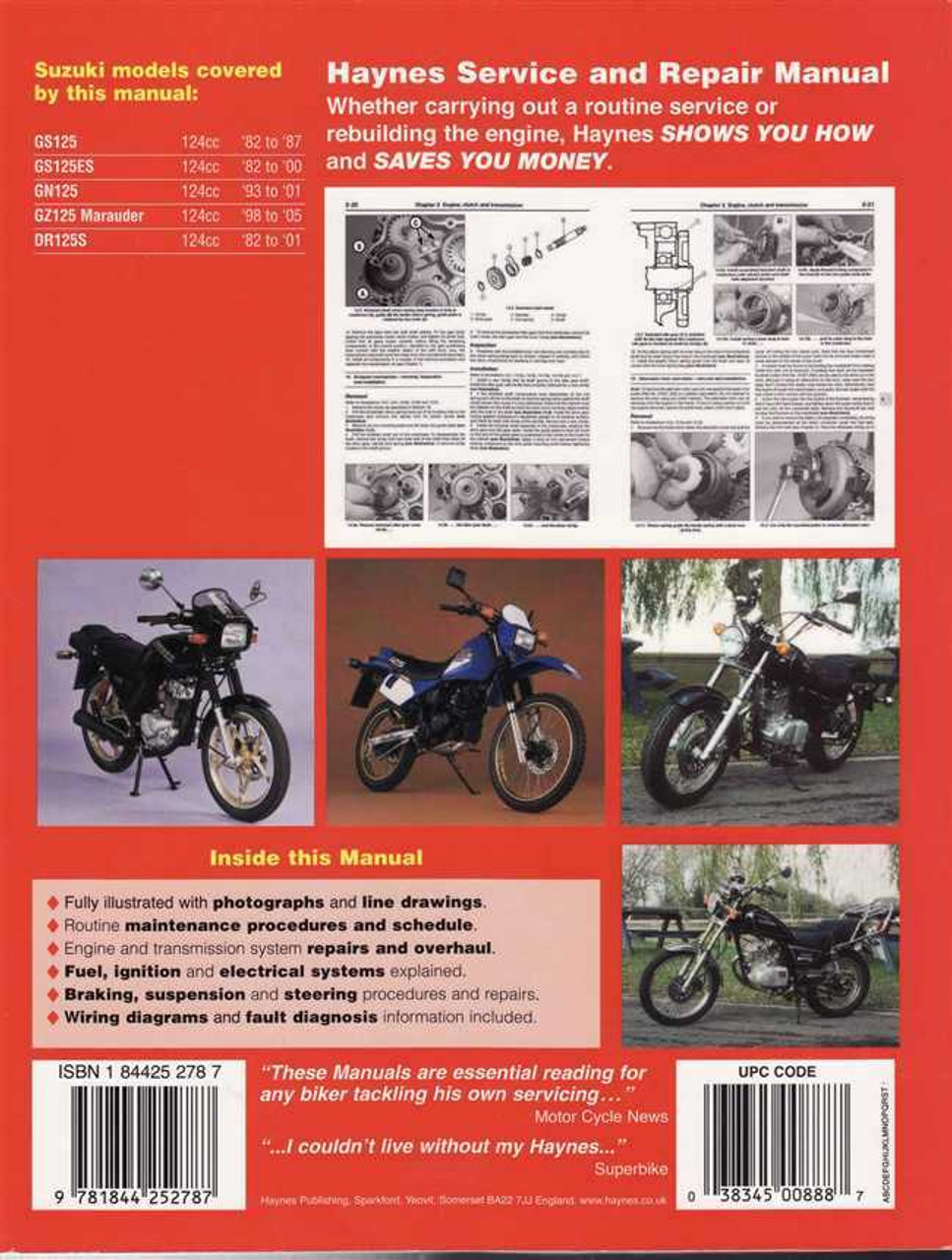 Suzuki GS125, GS125ES, GN125, GZ125, DR125S 1982 - 2005 Workshop Manual