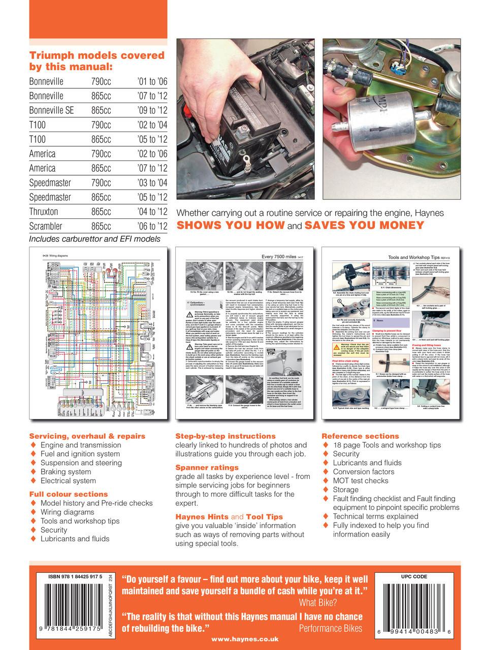Triumph Bonneville T100 Speedmaster America Thruxton Scrabmler 2001 Haynes Wiring Diagram Workshop Manual