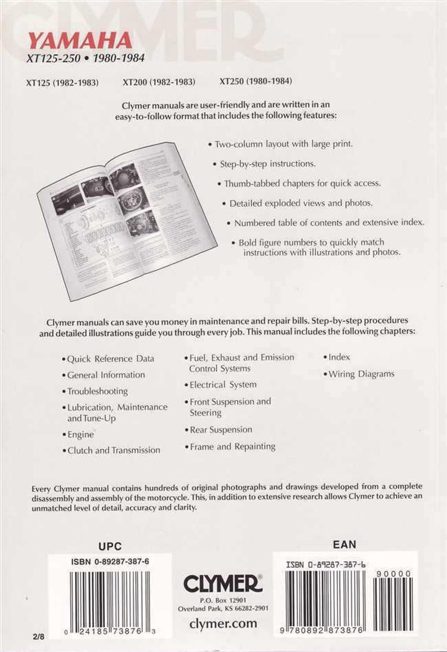 Yamaha XT125 XT200 XT250 1980 1984 Workshop Manual