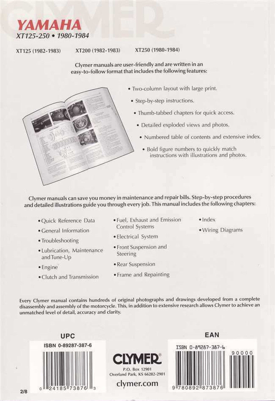 yamaha xt125 xt200 xt250 1980 1984 workshop manual rh automotobookshop com au Yamaha XT 250 Dual Sport Yamaha XT 200 Wiring Diagram