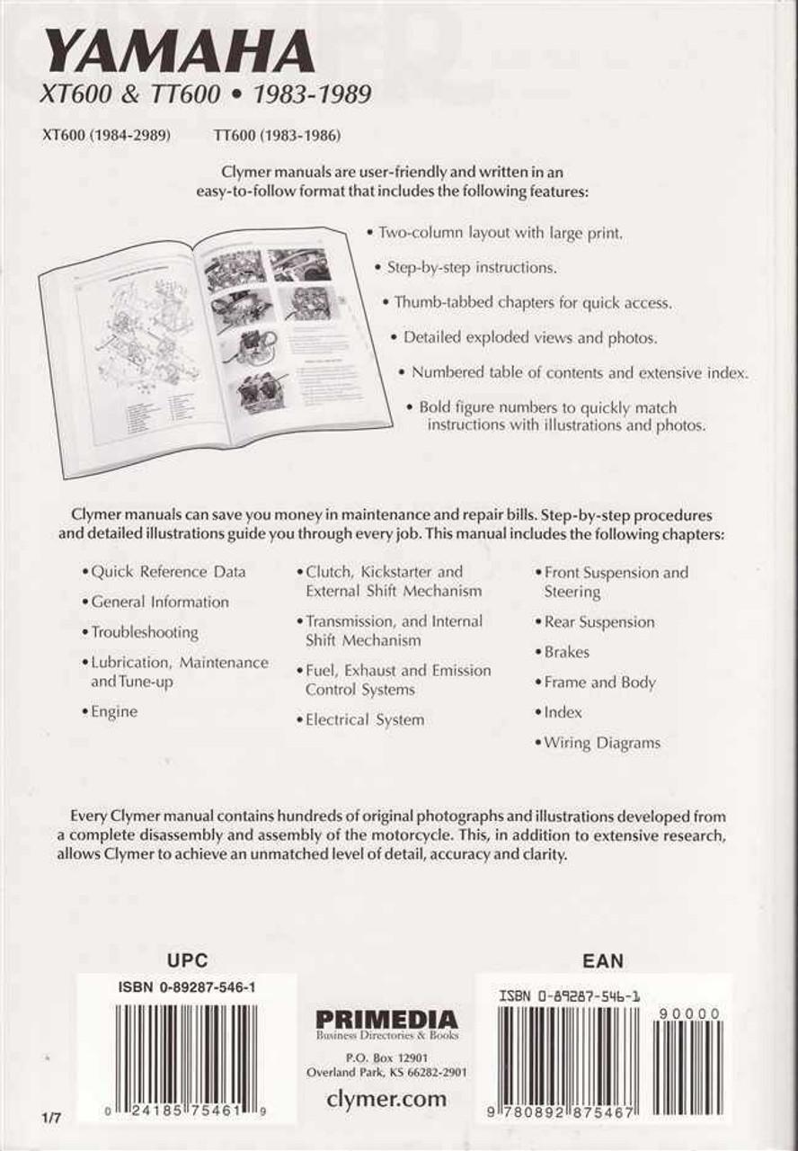 Yamaha XT600 amp TT600 1983 1989 Workshop Manual