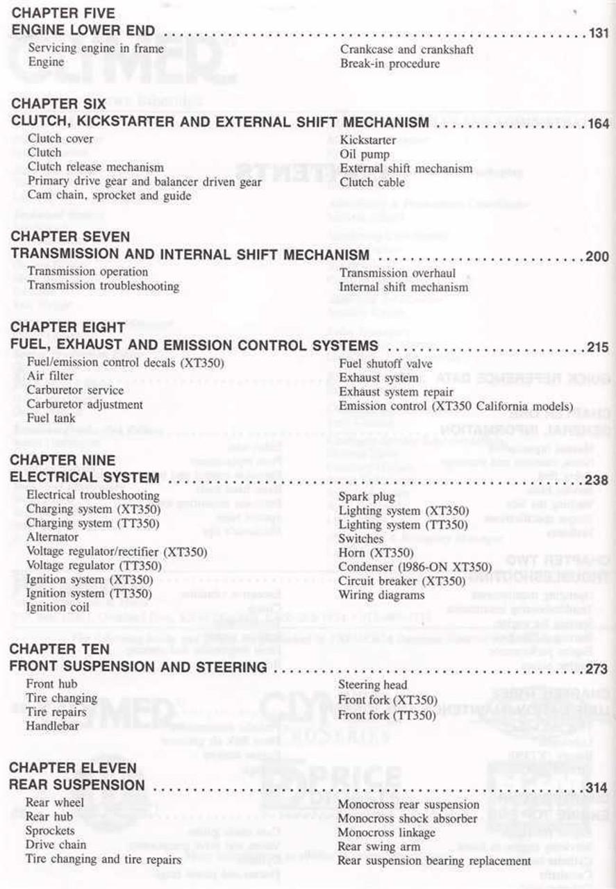 2002 yamaha zuma wiring diagram yamaha xt350 & tt350 1985 - 2000 workshop manual yamaha tt350 wiring diagram