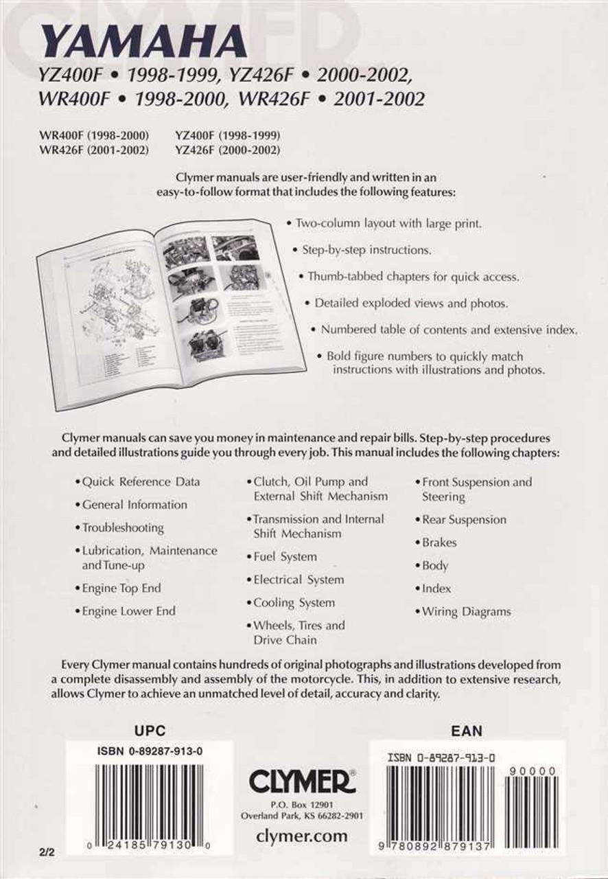 ... Array - yamaha yz400f yz426f wr400f wr426f 1998 2002 workshop manual rh  automotobookshop com ...