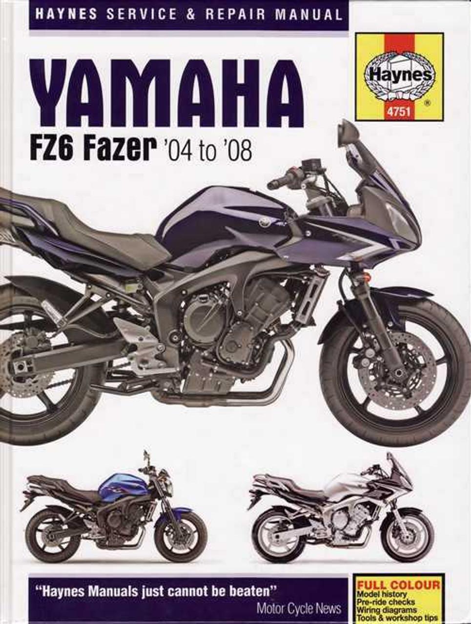 yamaha fz6 fazer 2004 2008 workshop manual rh automotobookshop com au
