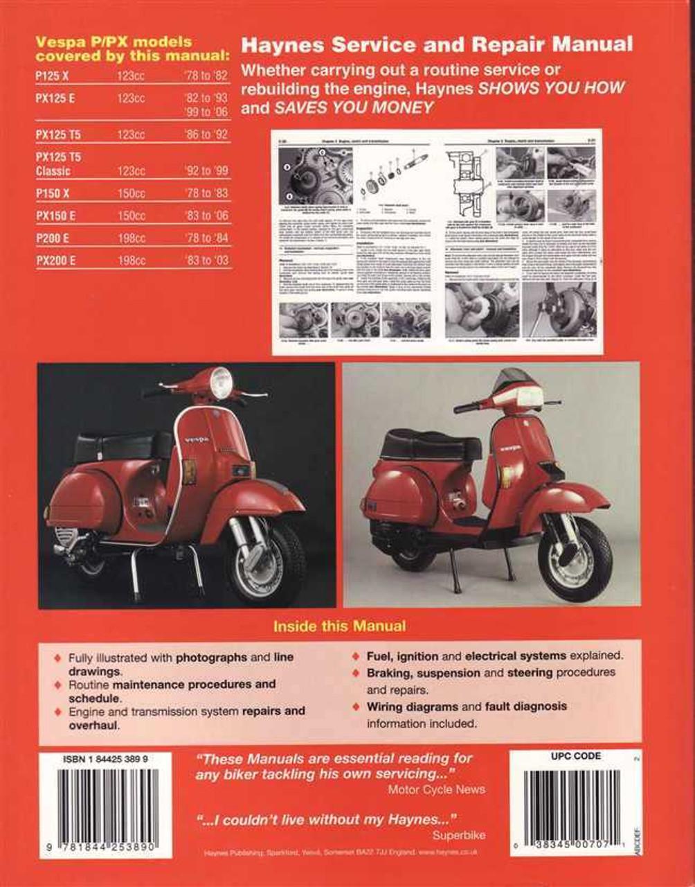 vespa p  px125  150   200 scooters 1978 2006 workshop manual Vespa PX 200 Lusso Vespa PX 200 Tuning