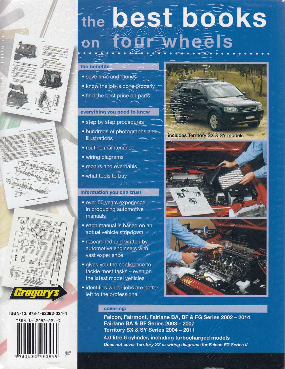 Ford Falcon, Fairmont, Fairlane BA BF FG Territory SX SY 2002 - 2014 Workshop  Manual