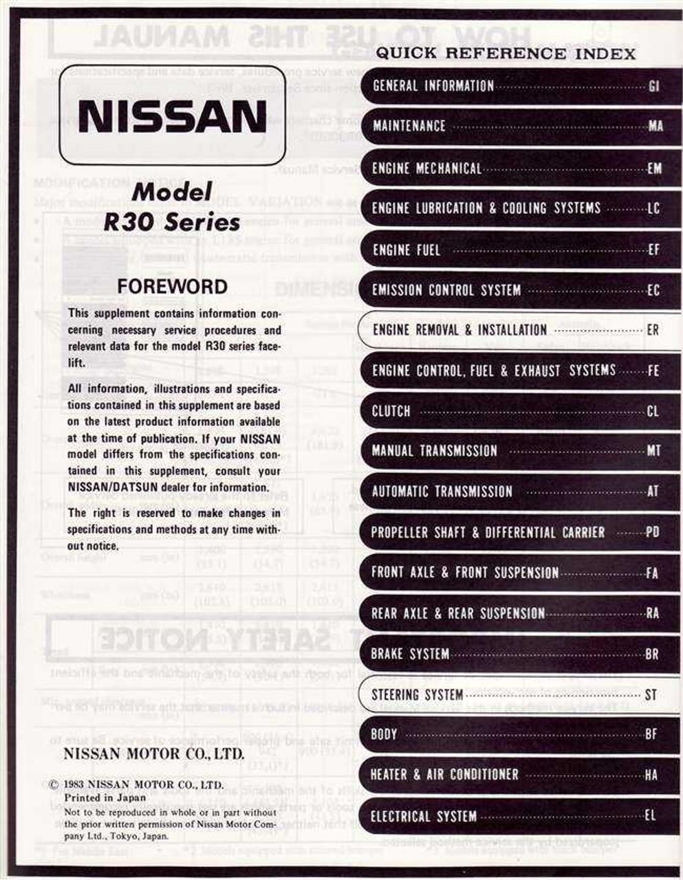 nissan skyline model r30 series service manual supplement rh automotobookshop com au 1990 Skyline 1999 Skyline GT-R