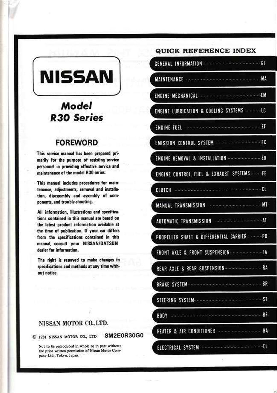 nissan skyline model r30 series workshop manual rh automotobookshop com au