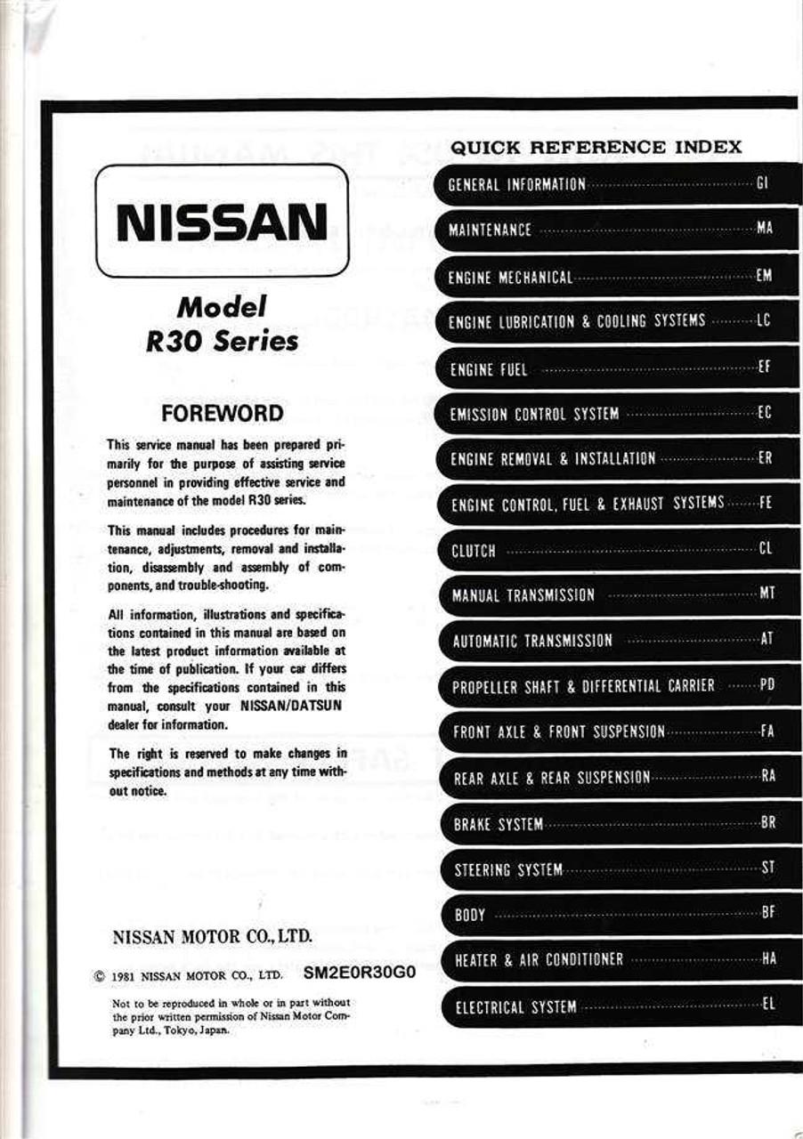 nissan skyline model r30 series workshop manual rh automotobookshop com au datsun a14 workshop manual nissan a14 engine manual pdf