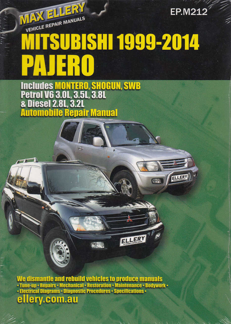mitsubishi pajero petrol v6 3 0 3 5 3 8 l diesel 2 8 3 2 l 1999 rh automotobookshop com au mitsubishi shogun workshop manual mitsubishi shogun workshop manual